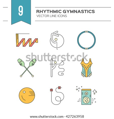 Linear style vector icon collection with different rhythmic gymnastics objects and discipline symbols. Professional sport vector. Unique and modern set isolated on background.