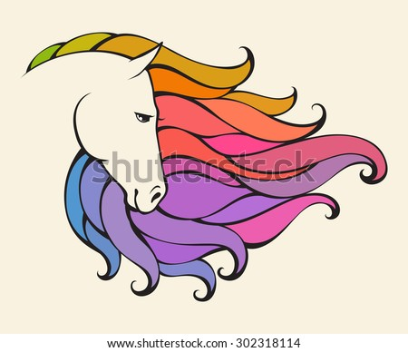 Linear stylized horse. Colorful abstract vector illustration can be used as design for logo,  tattoo, t-shirt, bag, poster, postcard - stock vector