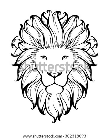 Linear stylized lion black and white graphic vector illustration can be used as design