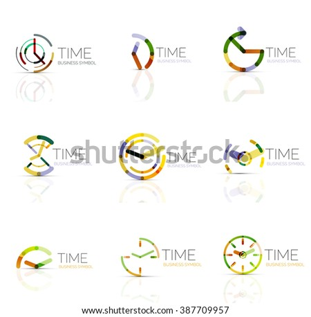 Linear time abstract logo set, connected multicolored segments