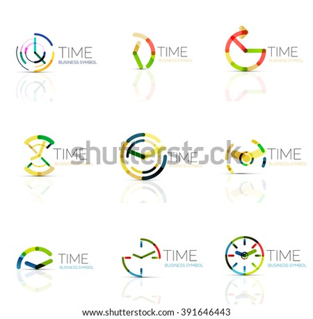 Linear time and clock abstract logo set, connected multicolored segments of lines. Vector minimal wire business icons isolated on white. Flat design