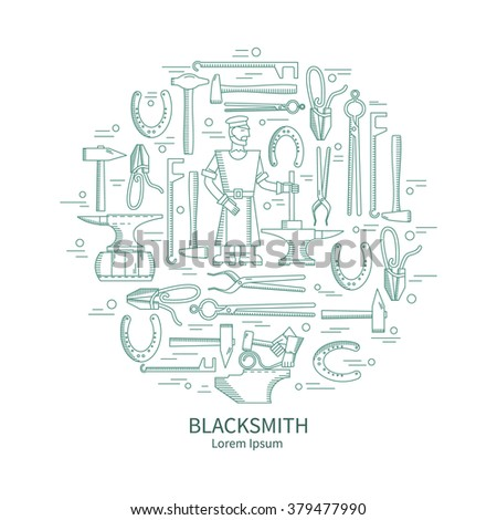Linear vector icons Blacksmith - anvil, horseshoe, hammer on an isolated background in the shape of a circle. Abstract emblem set for Forging technology - stock vector