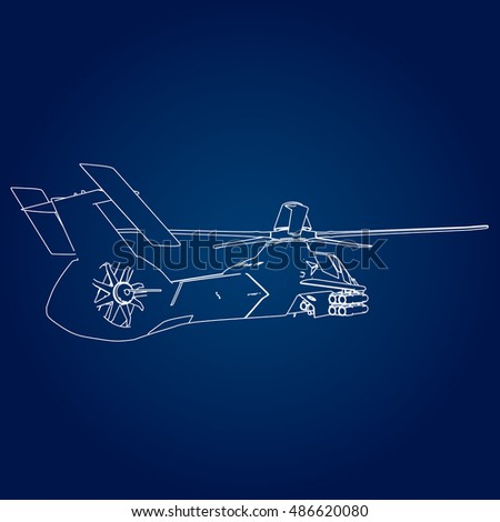 Linear Vector illustration of a military helicopter on a blue background.