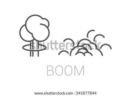 Linear vector illustration of bomb explosions. Line icons. Outline drawing. - stock vector