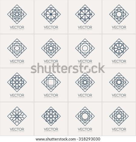 Lineart ornamental logo templates set. Vector arabic geometric symbols - stock vector
