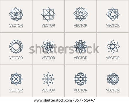 Lineart ornamental logo templates set. Vector arabic geometric symbols