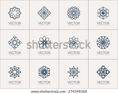 Lineart ornamental logo templates set. Vector geometric symbols - stock vector