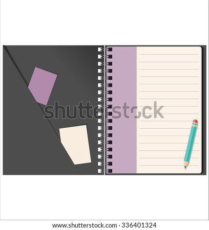 Lined blank notebook with spiral isolated on white - stock vector