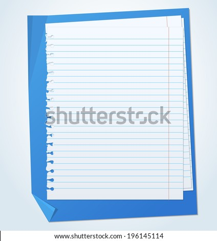 Lined exercise sheets and sheet of blue paper with crumpled edges - stock vector