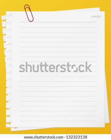 lined memo papers with red color clip on board. vector. - stock vector