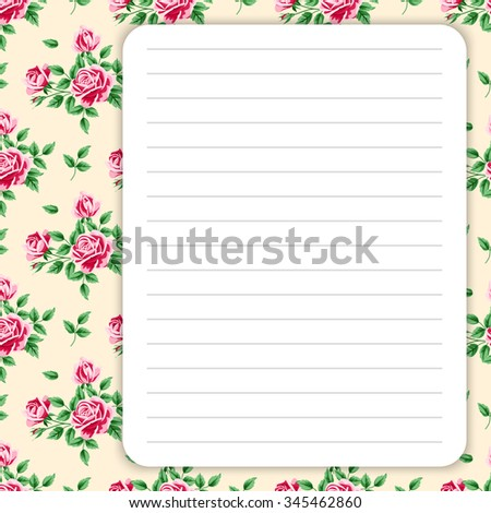 Lined page for notes design in retro style. Floral background. Template for scrapbooking, notebook, diary, sticker, greeting card. Place for text. Vector illustration - stock vector