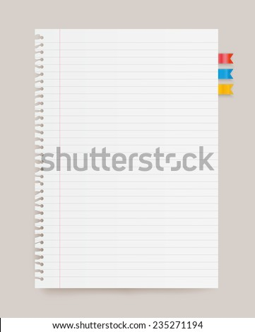 Lined paper note. - stock vector