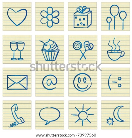 Lined Paper Notes Romantic Communication Symbols Stock Vector
