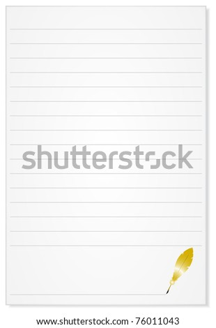 Lined sheet of paper from a golden bird feather for writing - stock vector