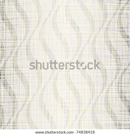 Linen fabric with wavy beige drawing - stock vector