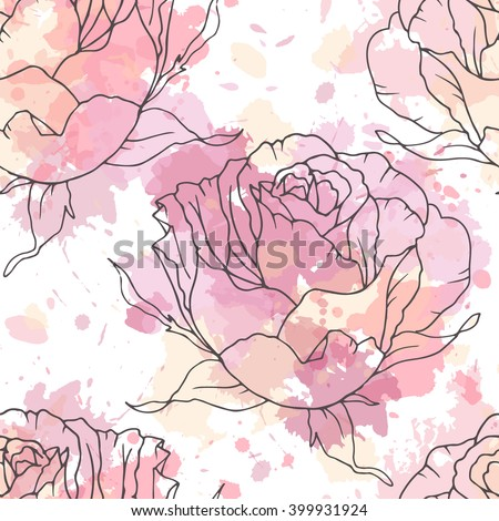 Linen hand drawn rose seamless vector pattern on paint spots background - stock vector