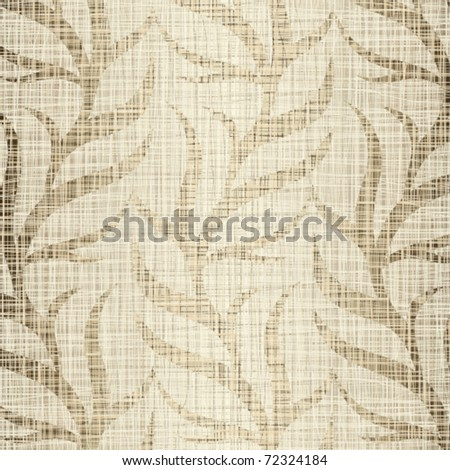 Linen structure with vegetative drawing - stock vector