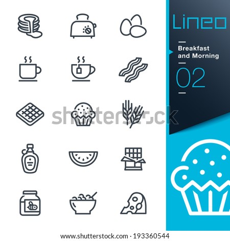 Lineo - Breakfast and Morning outline icons - stock vector