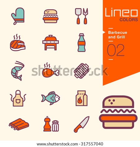Lineo Colors - Barbecue and Grill icons  - stock vector