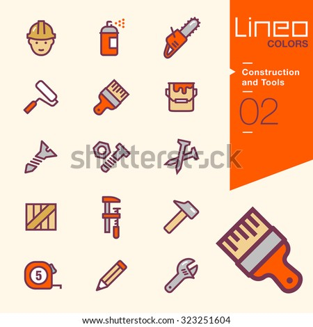 Lineo Colors - Construction and Tools icons - stock vector
