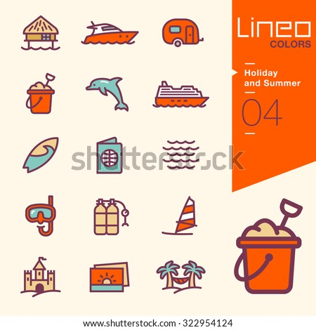 Lineo Colors - Holiday and Summer icons - stock vector