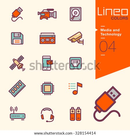 Lineo Colors - Media and Technology icons - stock vector