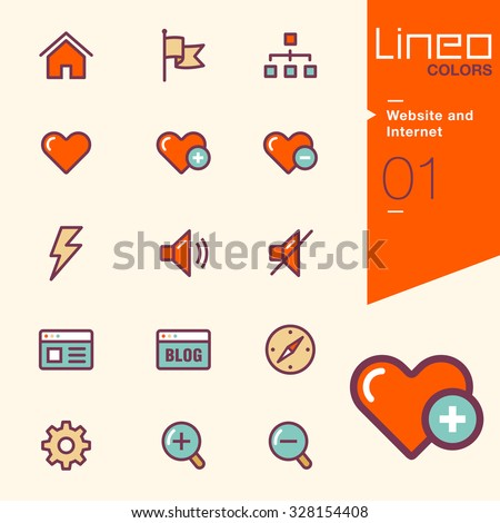 Lineo Colors - Website and Internet icons - stock vector
