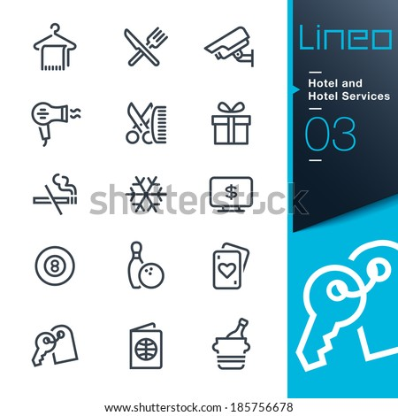 Lineo - Hotel and Hotel Services outline icons - stock vector