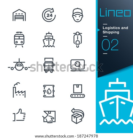 Lineo - Logistics and Shipping outline icons - stock vector