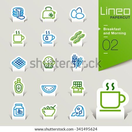 Lineo Papercut - Breakfast and Morning outline icons - stock vector