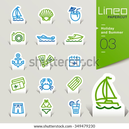 Lineo Papercut - Holiday and Summer outline icons - stock vector