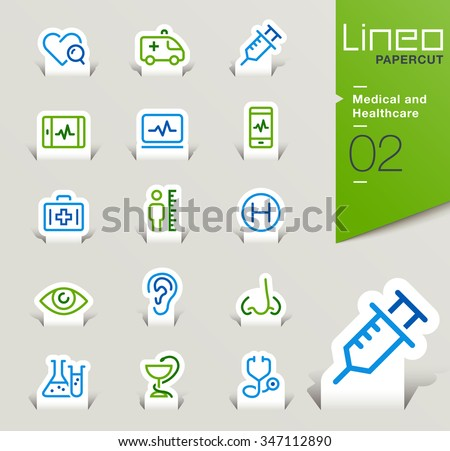 Lineo Papercut - Medical and Healthcare outline icons - stock vector