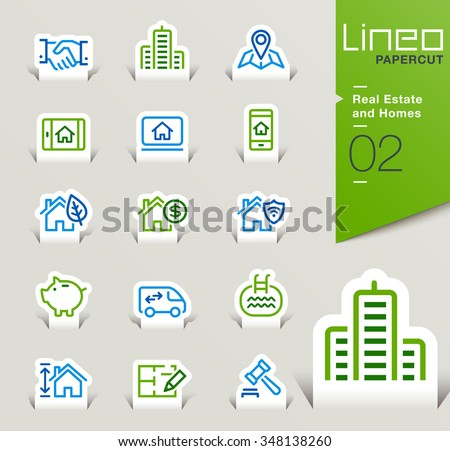Lineo Papercut - Real Estate and Homes outline icons - stock vector