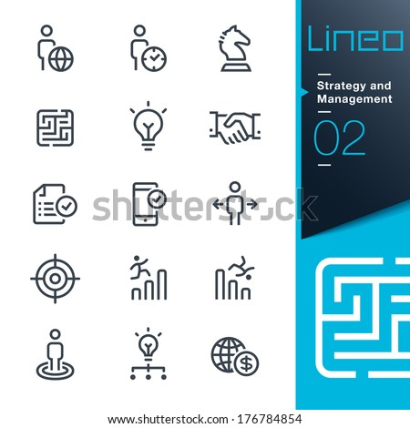 Lineo - Strategy and Management outline icons - stock vector