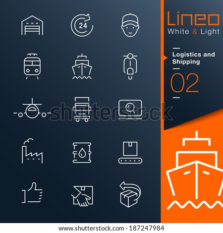 Lineo White & Light - Logistics and Shipping outline icons - stock vector