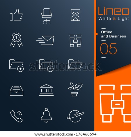 Lineo White & Light - Office and Business outline icons - stock vector