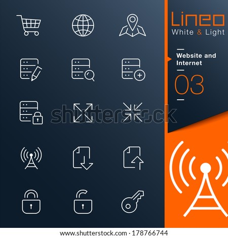 Lineo White & Light - Website and Internet outline icons - stock vector