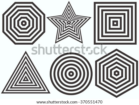 Lines Design.Nested concentric figures: octagon, star, square, triangle, circle, hexagon. Vector illustration. Geometric background for minimalist, classic design. Equal periodic intervals. - stock vector