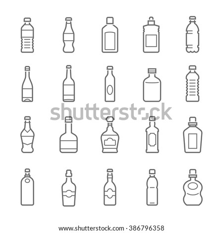 Lines icon set - bottle and beverage  - stock vector