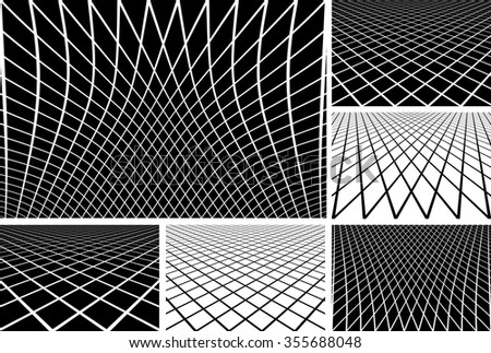 Lines latticed patterns. Abstract geometric backgrounds set. Vector art. - stock vector