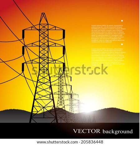 lines of electricity transfers an evening landscape in a vector - stock vector