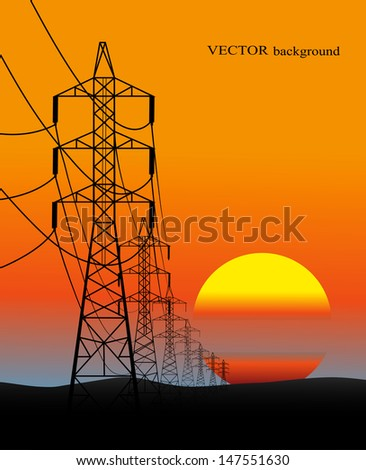 lines of electro transfers an evening landscape in a vector - stock vector