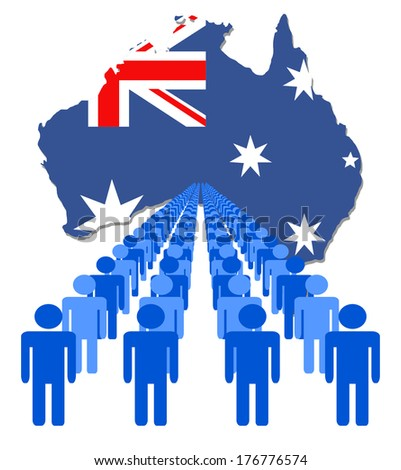 Lines of people with Australia map flag vector illustration - stock vector
