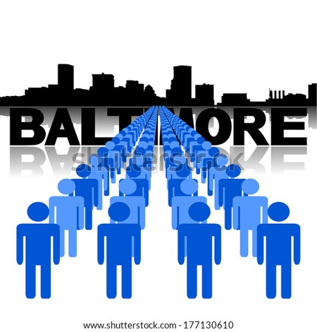 Lines of people with Baltimore skyline vector illustration