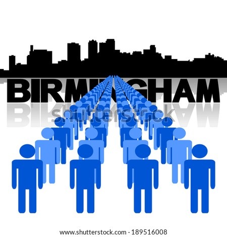 Lines of people with Birmingham skyline vector illustration - stock vector