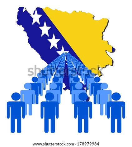 Lines of people with Bosnia map flag vector illustration - stock vector