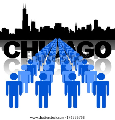 Lines of people with Chicago skyline vector illustration - stock vector