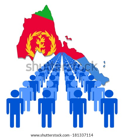 Lines of people with Eritrea map flag vector illustration - stock vector