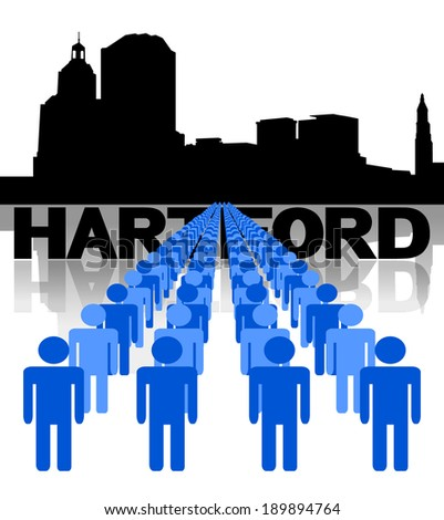 Lines of people with Hartford skyline vector illustration - stock vector