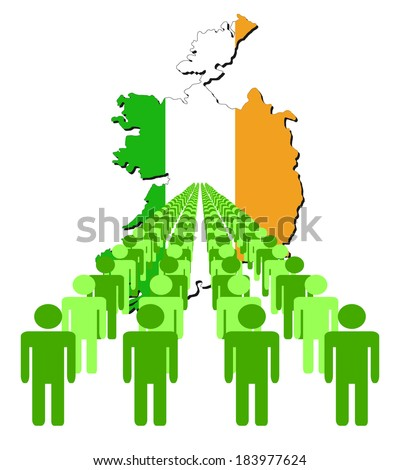 Lines of people with Ireland map flag vector illustration - stock vector